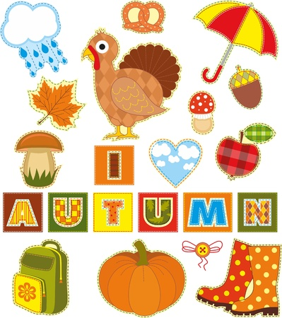 Autumn set of stickers made of a fabric Vector