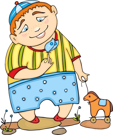 redheaded: Red-haired boy in striped clothes with a toy horse and  butterfly