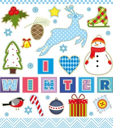 Winter set of stickers made of a fabric Vector