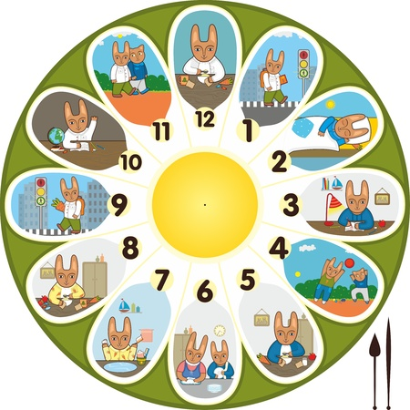 Dial with history little a rabbit Vector