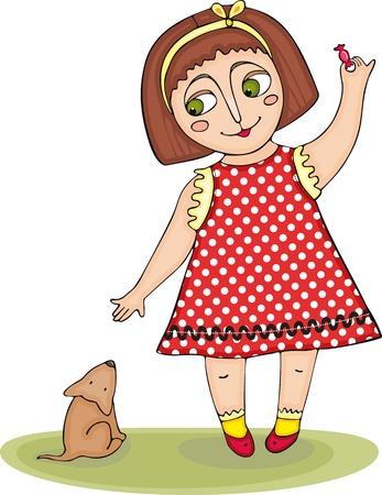 little girl dress: The little girl trains a puppy