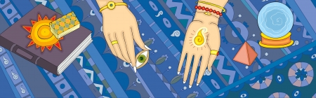 soothsayer: Hands of the fortuneteller with open eye in fingers Illustration