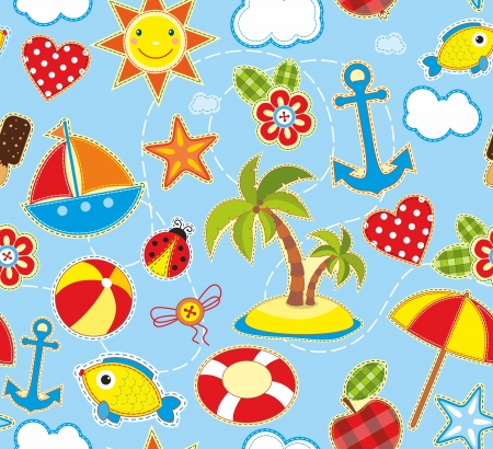 Seamless bright background with symbols of summer Vector