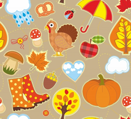 Seamless bright background with symbols of autumn Illustration