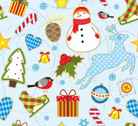 Seamless bright background with symbols of winter