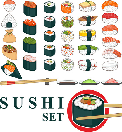 Great set of various different types of sushis isolated on white Illustration