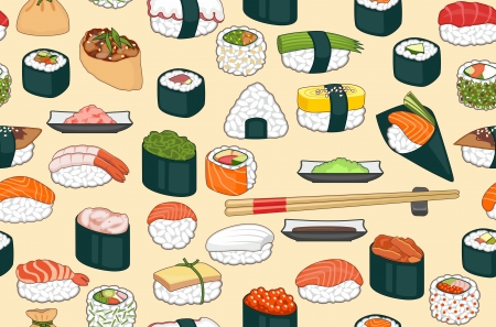 Seamless bright with sushi