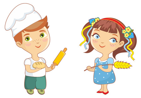 Boy baker holding a rolling pin and bread, girl holding  wheat. Isolated on a white background