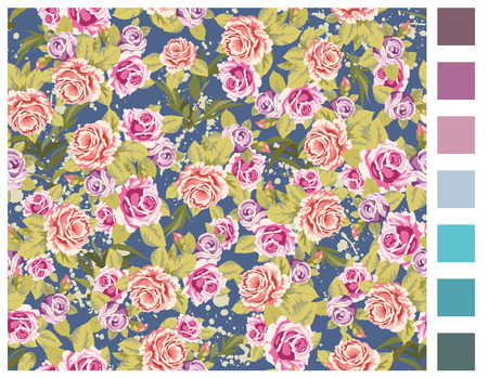 Seamless wallpaper pattern with of purple and pink roses. Easy to change background color