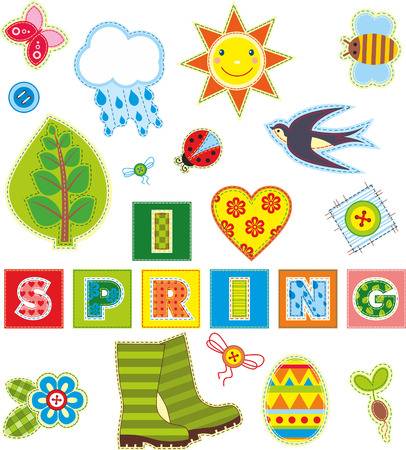 Spring set of stickers made of a fabric Vector