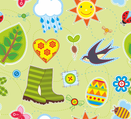 Seamless bright background with symbols of spring