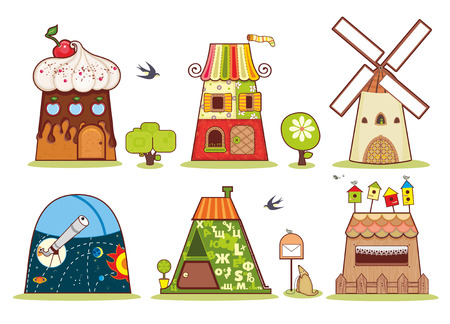 Fairy houses on a white background symbolizing people of different professions