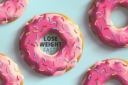 run way: Lose weight fast text in donut on a blue background Stock Photo