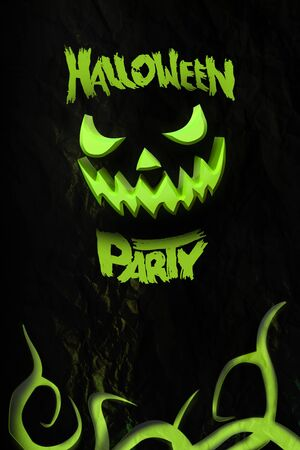 Halloween Party Flyer With Grinning Jack O. Template With Pumpkin ...