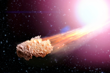 Sci-fi fantastic background - burning and exploding stars, hell, asteroid impact, glowing horizon. Deep space. Attack of the asteroid. Scientific llustration. 3D illustration.