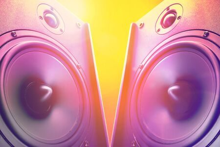 subwoofer: Hi end loudspeakers. Party design element with speaker. Audio equipment for home theater. Speakers boxes audio music concert. Audio stereo system. Stock Photo