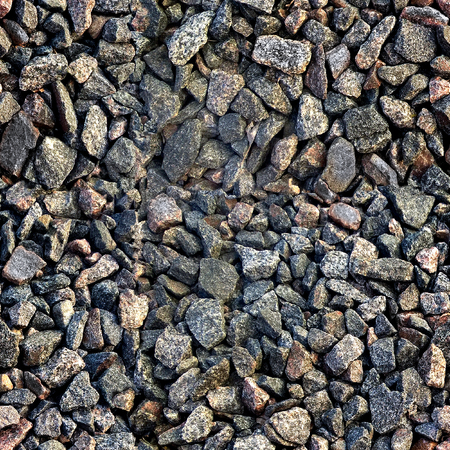 Seamless texture of gravel in HDR mode for game design. Crushed granite and pebble gravel texture.