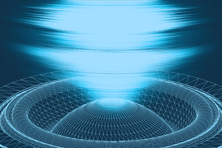 Sound waves oscillating glow light, Abstract technology backgroud. 3d illustration