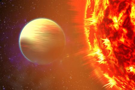 Foto del sol en el espacio. Vista de cerca de un sol ardiente en el espacio. Fondo de plasma.