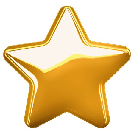 Realistic metallic golden star isolated on white background. Glossy yellow 3D trophy star icon. Symbol of leadership. 3d illustration.
