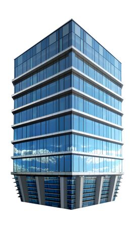 single business skyscraper isolated on white background. Business center. 3d illustration.