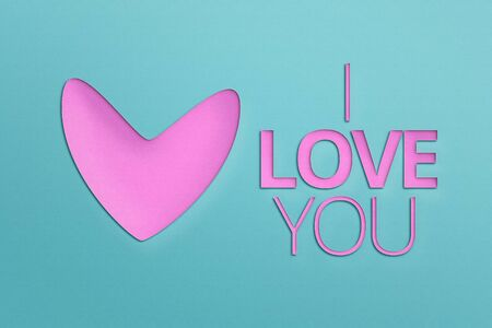 I LOVE YOU - Paper Origami background. Love you lettering template for girlish t shirt print design. Valentines Day greeting card. Heart Pink. Banco de Imagens