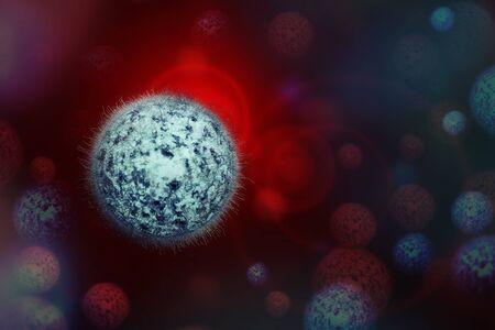 Human Virus, flu, view of a virus under a microscope, Viral disease outbreak. Infectious disease. 3d rendering