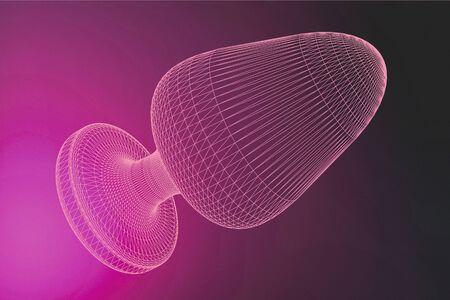 Giocattoli di plug anale culo rosa su sfondo fucsia. illustrazione 3D.