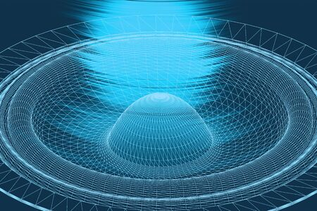 Sound waves oscillating glow light, Abstract technology background. 3D illustration. Banco de Imagens