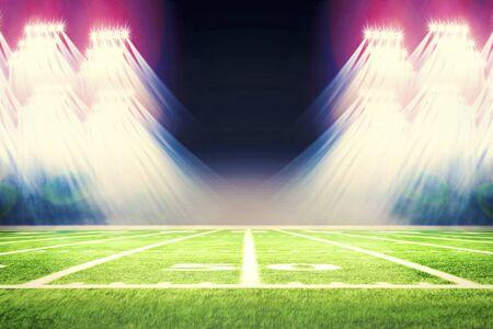 Fußballstadion mit weißen Linien, die das Spielfeld markieren. Perspektive des Fußballplatzes. Perspektivische Elemente.Ragby-Fußballplatz mit weißen Linien, die das Spielfeld markieren. 3D-Darstellung.