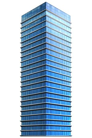 Single business skyscraper isolated on white background. 3D illustration.
