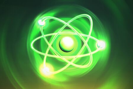 Atom Backgrounds from Geometric Shapes, Circle of Points of Lines. Atom nuclear model on energetic background. 3D illustration Stock fotó
