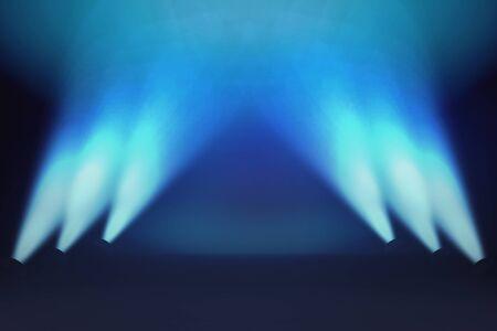 Sfondo effetto luce illuminazione scena creativa con raggi. Fascio di luce blu. Fondo dello studio della stanza dei raggi blu del riflettore. L'interno ha brillato con un proiettore. Rendering 3D