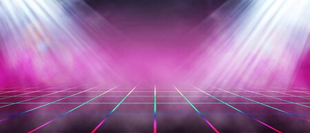 Background of empty stage show. Neon futursitic background Sci Fi purple blue glowing. Rope net perspective silhouette. 3d rendering 스톡 콘텐츠