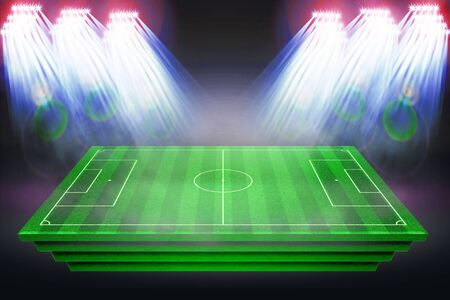 Football stadium with white lines marking the pitch. Perspective of football field, Soccer field collection. Perspective elements. 3d illustration. Stock Photo