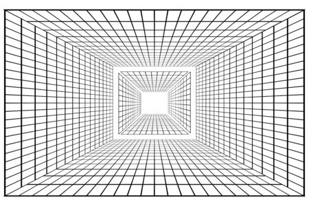 Abstract perspective black grid isolated on white
