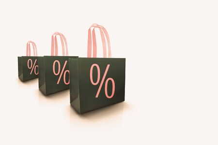 Gray shopping sale special offer bag for luxury store isolated on white