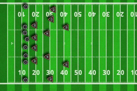 Team play and strategy. Scheme of football game. Top views of american football field. 3d illustration american football play with x's and o's.