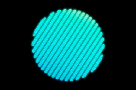 Circle Holographic. Unusual flat icon. Minimal geometry. Abstract green shell fractal on the black background. The Beautiful blue circle. Color 3d illustration.
