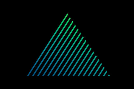 Triangle Hatbox. Unusual flat holographic. Beautiful blue triangle. Minimal geometry. Abstract green shell fractal on the black background. The Color 3d illustration. Stok Fotoğraf