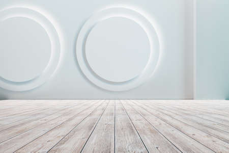 Empty floor with white walls and floor. Empty room studio gradient used for background and display your product. 3d illustration Banque d'images - 150888791