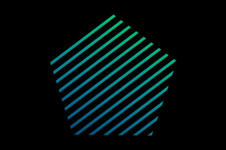 Holographic square. Minimal geometry. Unusual flat icon. Abstract green shell fractal on the black background. The Color 3d illustration.