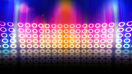 Gold Background of empty scene with neon lights. Abstract sparkling background. Illuminated stage on the stadium. Laser futuristic shapes on a dark background. 3D illustration. 免版税图像
