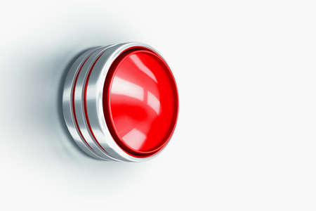 Red button on white background. The button to launch a nuclear missile or the beginning of a war. 3d illustration.