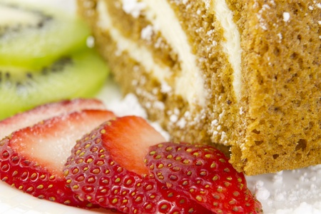 roulade: Fruits Slices by the Cake Stock Photo