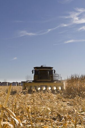 Corn harvesting machinery in the suburbs of Indianapolis. photo