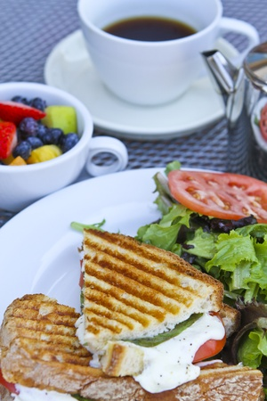 Panini breakfast with complimenting fruits and tea on white plates.