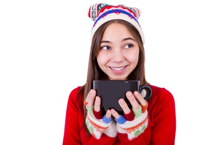 fingerless gloves: Teenager Girl Holding Coffee Cup with colorful fingerless gloves.