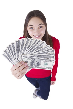 multilayered: Happyly smiling teenager girl says I got my tax money.