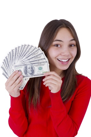 all in one: Young girl holding her paycheck, all one hundred dollar banknotes.